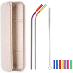 2 Colorful Bent Silicone Tip Straws Set