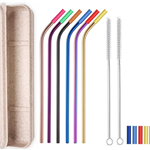 6 Colorful Bent Silicone Tip Straws Set