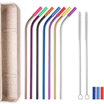 7 Colorful Bent Silicone Tip Straws Set