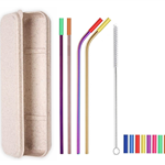 4 Colorful Straight & Bent Silicone Tip Straws Set
