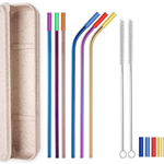 6 Colorful Straight & Bent Silicone Tip Straws Set