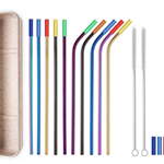 10 Colorful Straight & Bent Silicone Tip Straws Set
